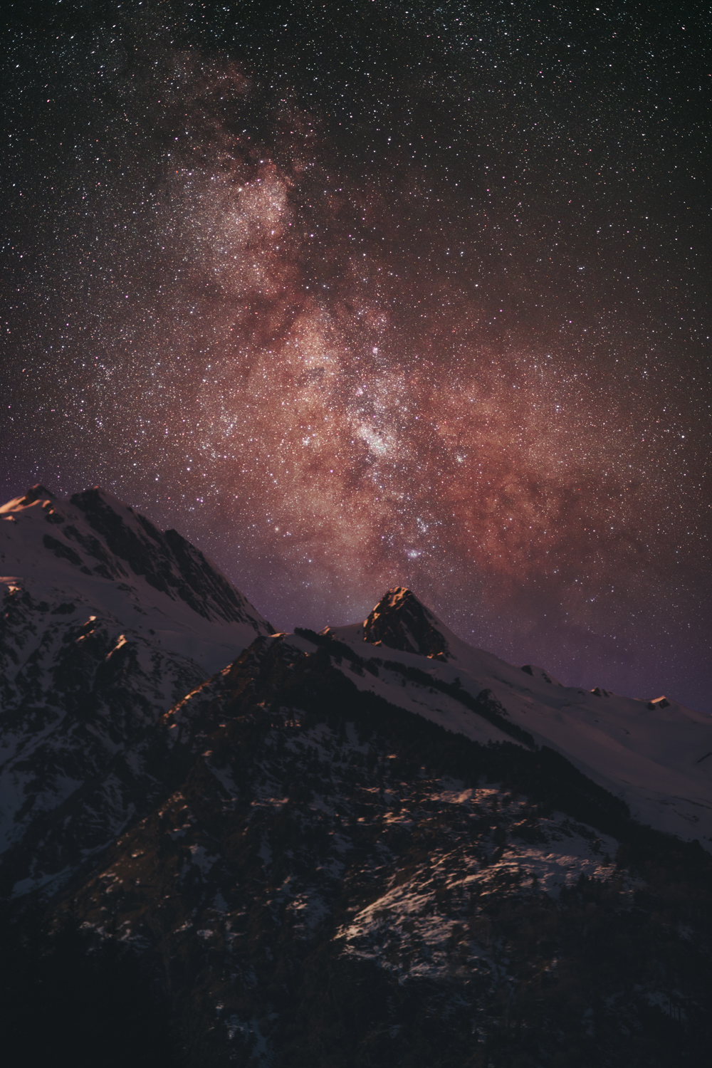 Astrophotography of milky way at mountains