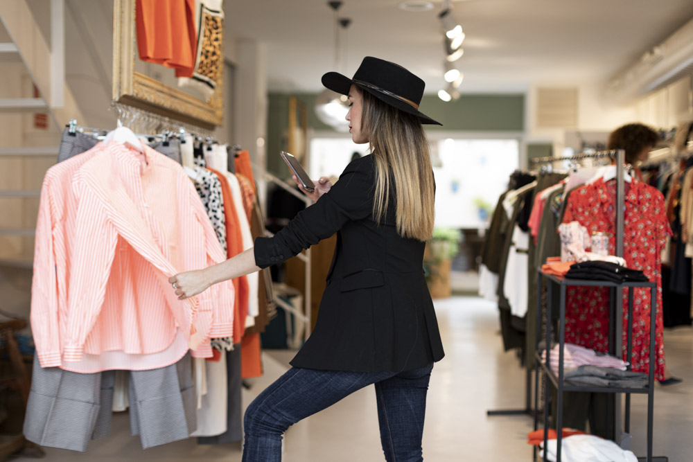 Commercial photographs in a fashion store