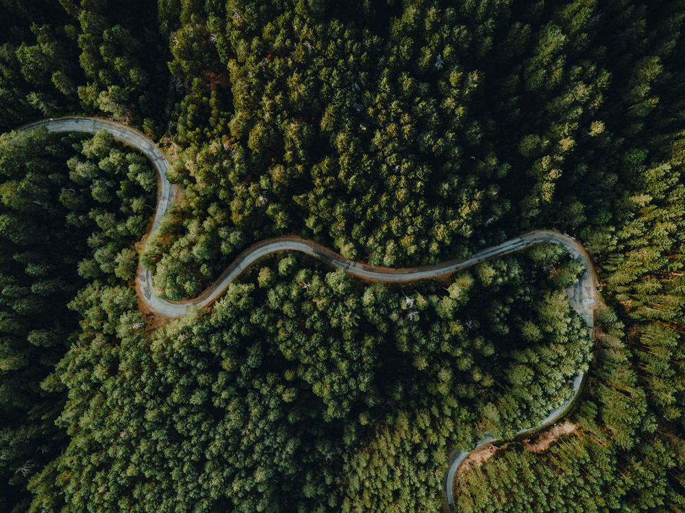 Aerial picture of a curvy road of mountain